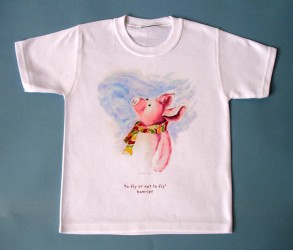Original watercolor of Iren's piglet on high quality T-shirts, all cotton inside and polyester out, machine wash