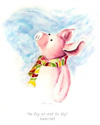 'to fly or not to fly' Ham-let Kids T-shirt. Original watercolor of Iren's piglet on high quality T-shirts, all cotton inside and polyester out, machine wash