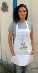 These shorter bib aprons (28''x23'') feature 3 large lower pockets, 100% spun polyester, machine wash. Choose one of the unique drawings: 'Little Rooster', 'Spring chick' and 'Ham-let' the little piglet.