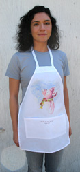 "This kids apron (17''wide, 23"" long) with front pocket is the perfect size for mom's little helper or a petite adult chef. Ham-let is the lucky piglet to adorn the apron. Spun polyester, machine wash."
