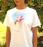 Ham-let Ladies T-shirt. Original drawing of Iren's happy little piglet on elegant Ladies T-shirts, scoop neck, slightly fitted, mid-hip length. Soft cotton inside and polyester out, machine wash.