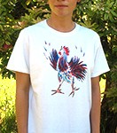 Little Rooster Ladies T-shirt. Original drawing of Iren's gorgeous chicks on elegant Ladies T-shirts, scoop neck, slightly fitted, mid-hip length. Soft cotton inside and polyester out, machine wash.