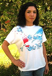 Mom with Chicks Ladies T-shirt. Original drawing of Iren's gorgeous chicks on elegant Ladies T-shirts, scoop neck, slightly fitted, mid-hip length. Soft cotton inside and polyester out, machine wash.