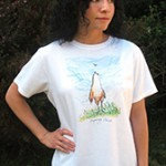Spring Chick Ladies T-shirt. Original drawing of Iren's gorgeous chicks on elegant Ladies T-shirts, scoop neck, slightly fitted, mid-hip length. Soft cotton inside and polyester out, machine wash.