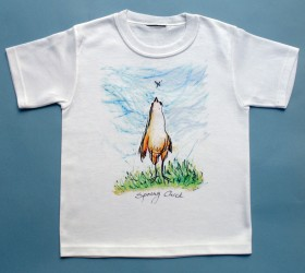 'Spring Chick'  Original drawing of Iren's gorgeous chicks on high quality T-shirts, all cotton inside and polyester out, machine wash