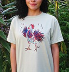 Little Rooster short sleeve T-shirt. Color: Alpine Spruce Original drawing of Iren's gorgeous chicks on  light and durable Vapor T-shirts, moisture wicking and fast drying, perfect for sports or everyday use. Spun poly with the feel of cotton. Machine wash.