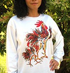 Two Roosters Long Sleeve T-shirt. Original drawing of Iren's gorgeous chicks on comfortable Long Sleeve T-shirts, so soft some customers like to wear them to bed. Cotton inside and polyester out, machine wash.