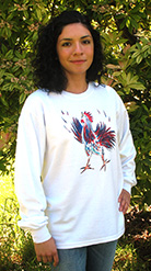 Little Rooster Long Sleeve T-shirt. Original drawing of Iren's gorgeous chicks on  comfortable Long Sleeve T-shirts, so soft some customers like to wear them to bed. Cotton inside and polyester out, machine wash.