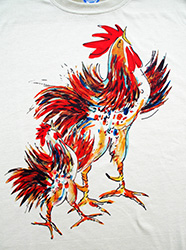 Two Roosters short sleeve  T-shirt. Color: November white. Original drawing of Iren's gorgeous chicks on light and durable Vapor T-shirts, moisture wicking and fast drying, perfect for sports or everyday use. Spun poly with the feel of cotton. Machine wash.