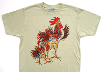 Two Roosters short sleeve  T-shirt. Color: Alpine Spruce. Original drawing of Iren's gorgeous chicks on  light and durable Vapor T-shirts, moisture wicking and fast drying, perfect for sports or everyday use. Spun poly with the feel of cotton. Machine wash.