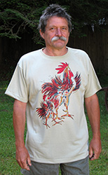 Two Roosters short sleeve  T-shirt. Color: Alpine Spruce Original drawing of Iren's gorgeous chicks on  light and durable Vapor T-shirts, moisture wicking and fast drying, perfect for sports or everyday use. Spun poly with the feel of cotton. Machine wash.