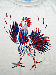 Little Rooster short sleeve  T-shirt. Color: November white Original drawing of Iren's gorgeous chicks on  light and durable Vapor T-shirts, moisture wicking and fast drying, perfect for sports or everyday use. Spun poly with the feel of cotton. Machine wash.